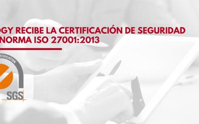 Inology recibe la certificación de seguridad de la norma ISO 27001:2013 acreditando la seguridad de sus sistemas de la información